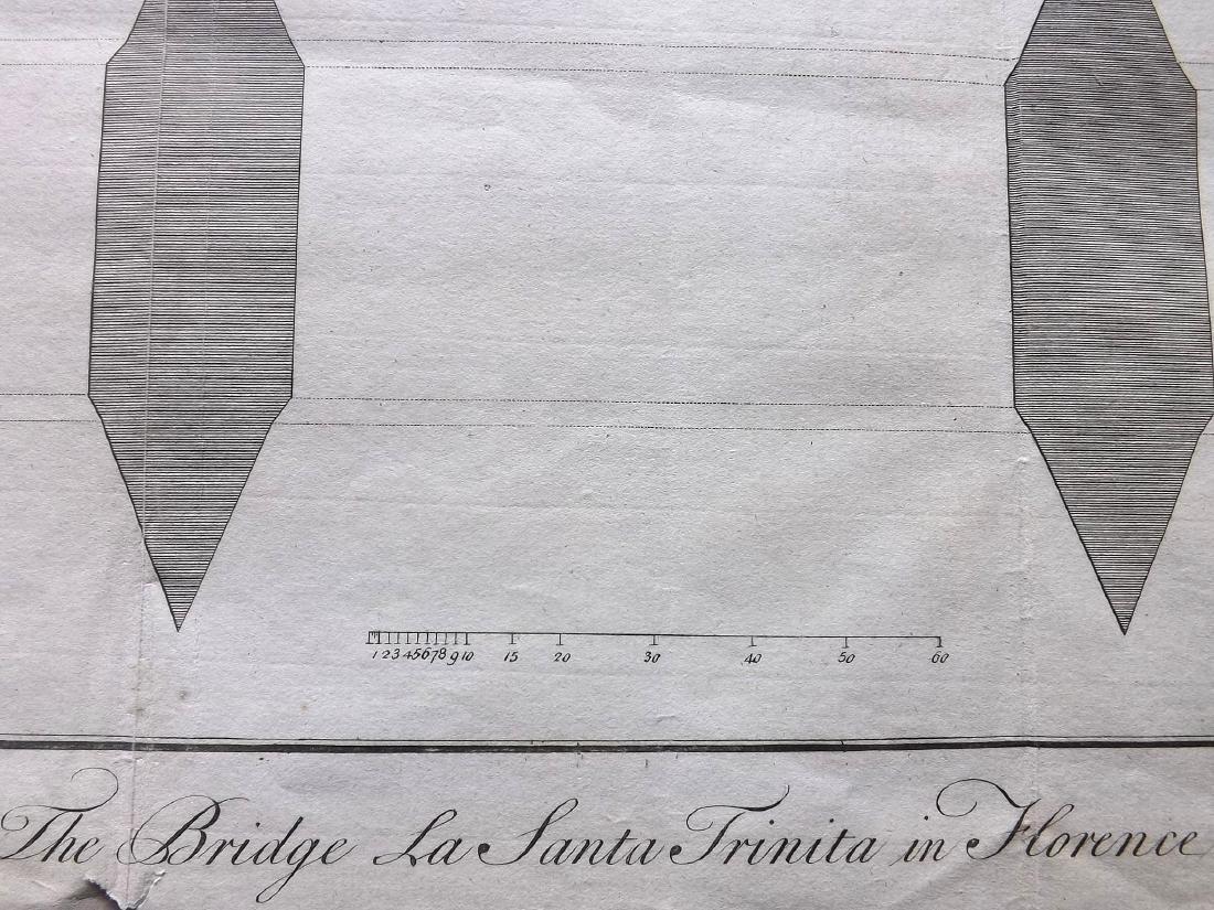 Italy 1754 Print of Santa Trinita Bridge at Florence - 2