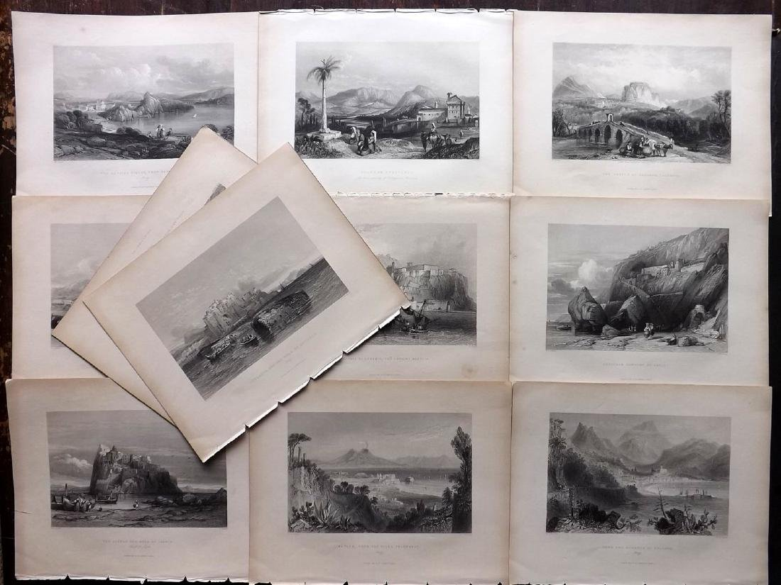 Italy 1840 Lot of 11 Engravings. Ischia, Naples etc