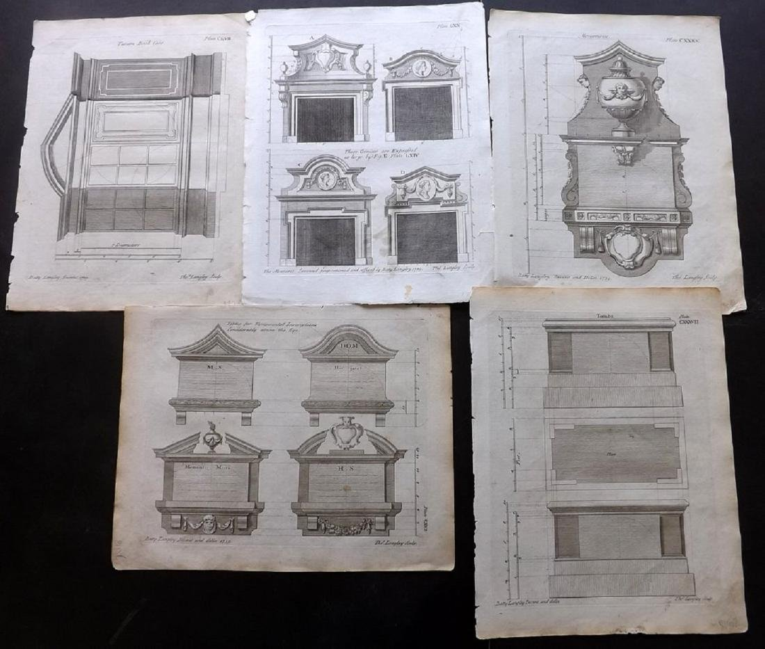 Langley, Batty 1770 Group of 6 Architectural Prints