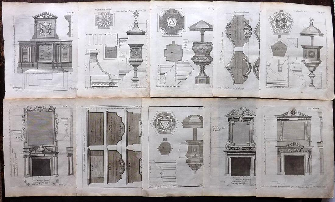 Langley, Batty 1770 Lot of 10 Architectural Prints