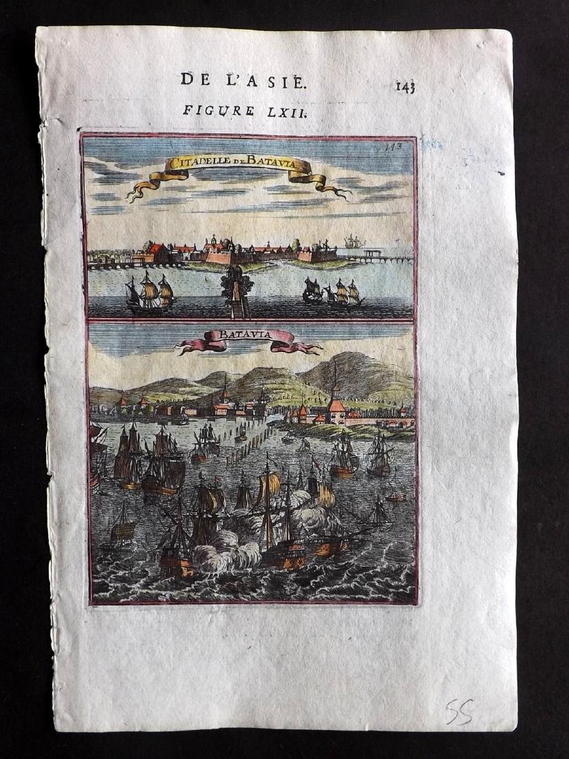 Mallet, Alain Manesson 1683 HC Print of Batavia & Ships