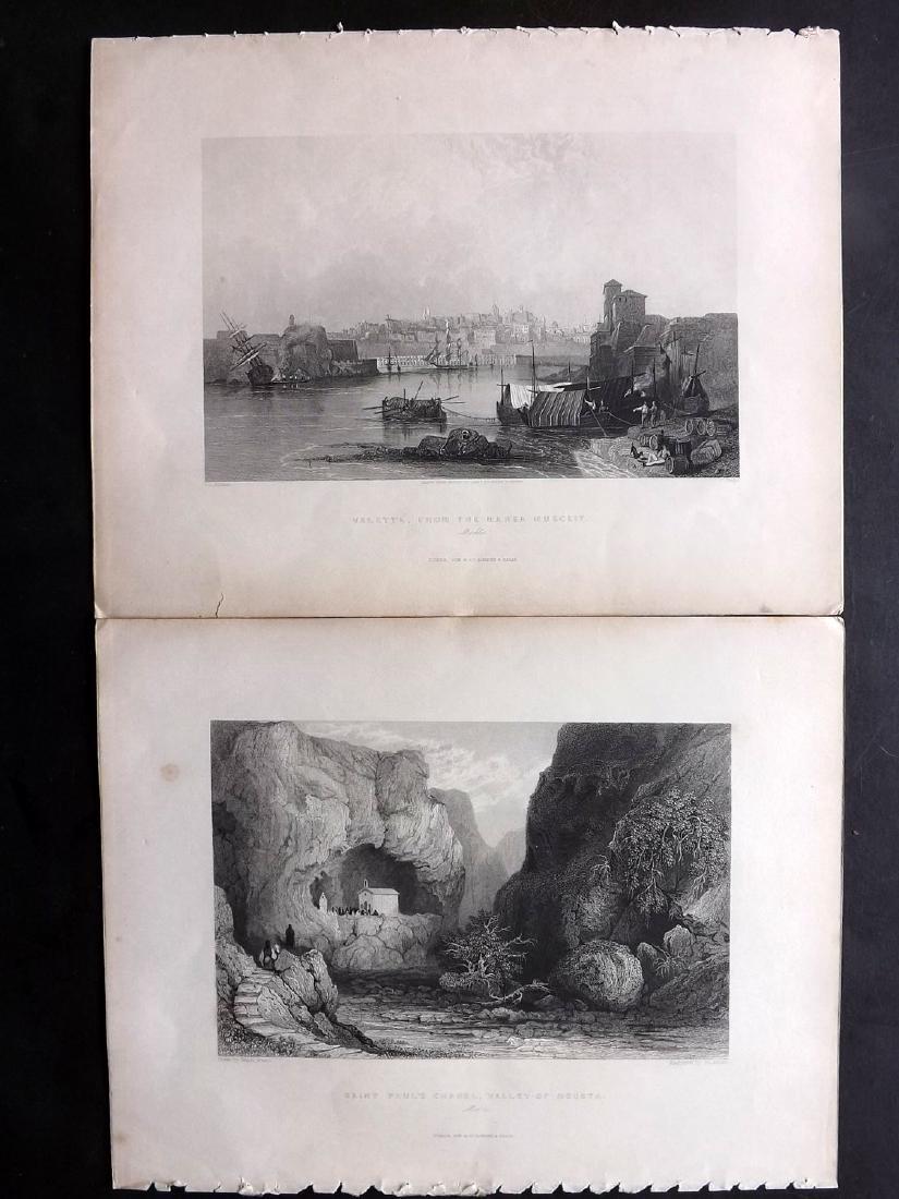 Malta  1840 Pair Engravings from Wright's Mediterranean