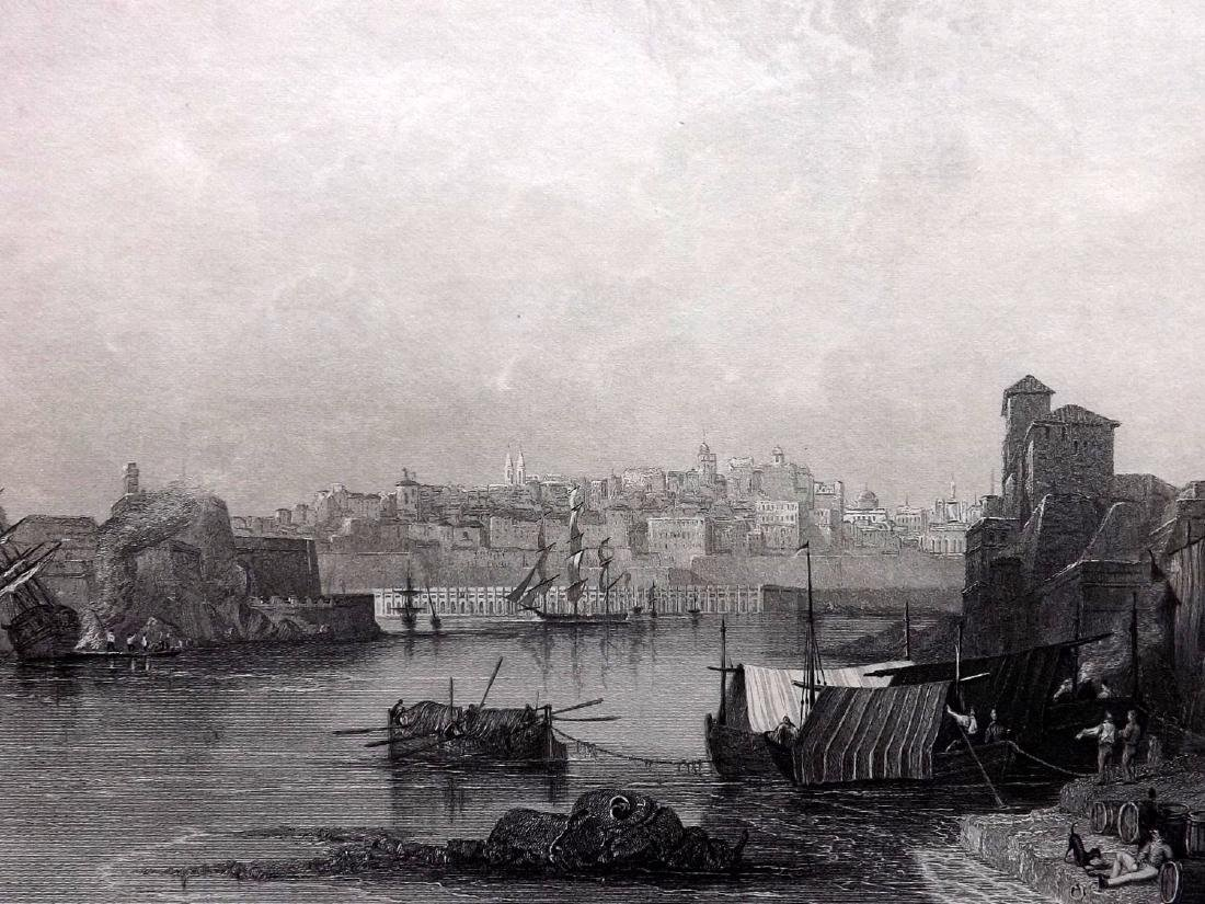 Malta  1840 Pair Engravings from Wright's Mediterranean - 2