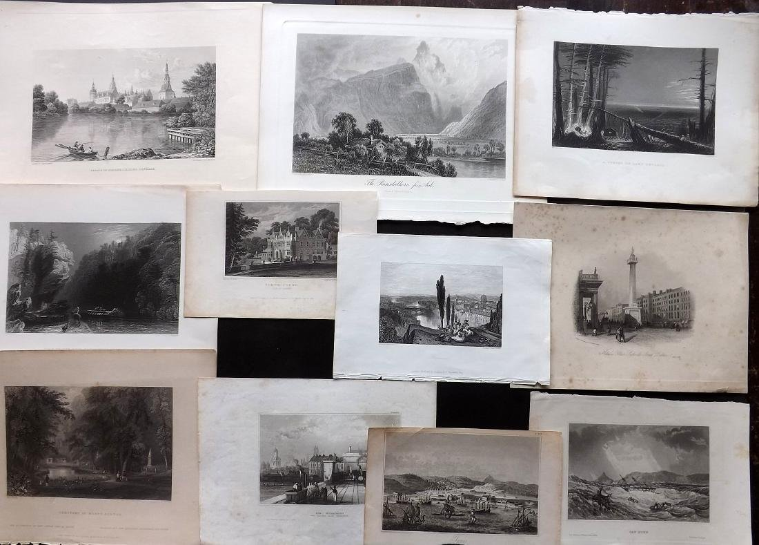 World Views 19th Century Lot of 11 Steel Engravings