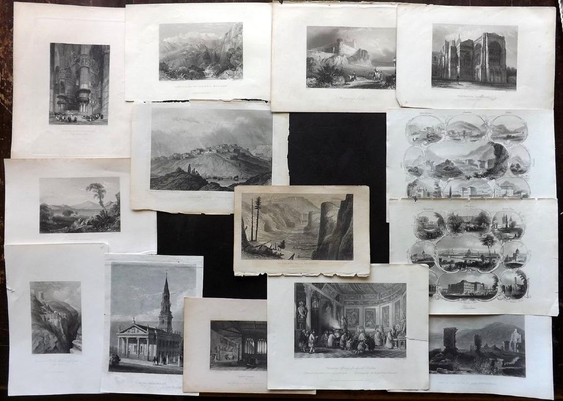 World Views 19th Century Lot of 14 Steel Engravings