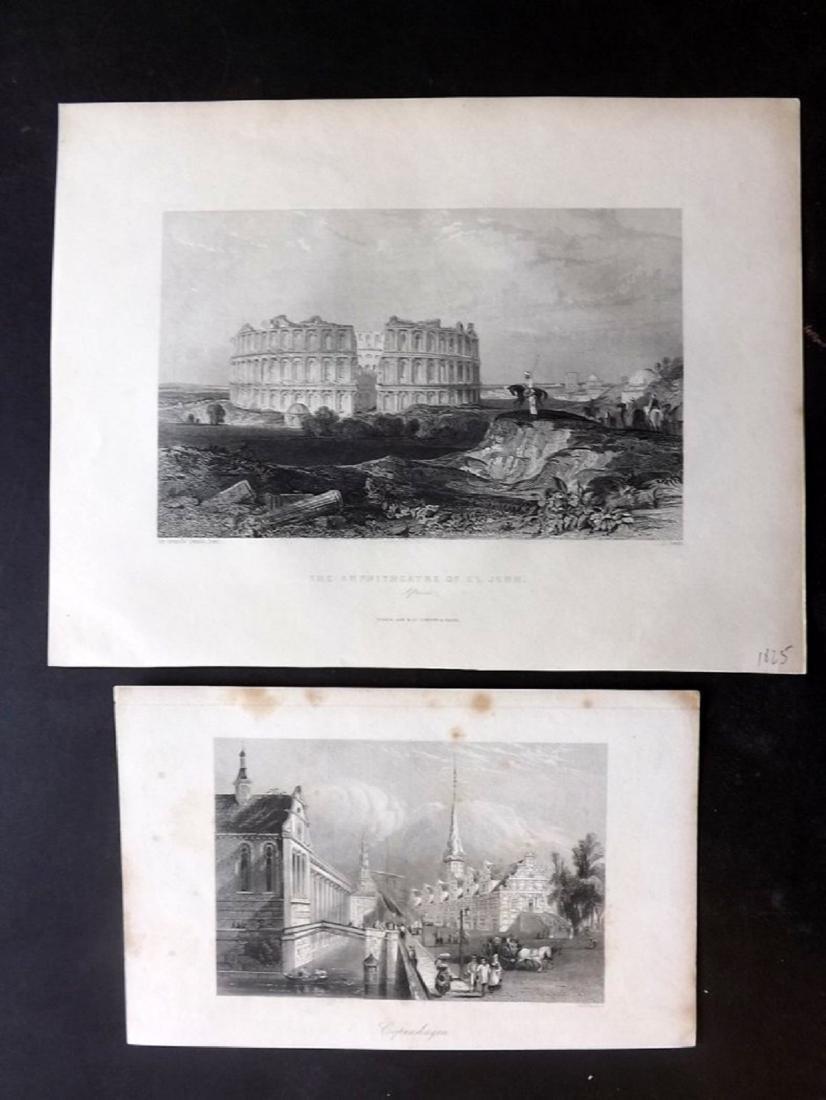 World Views C1830-80 Lot of 9 Steel Engravings - 2