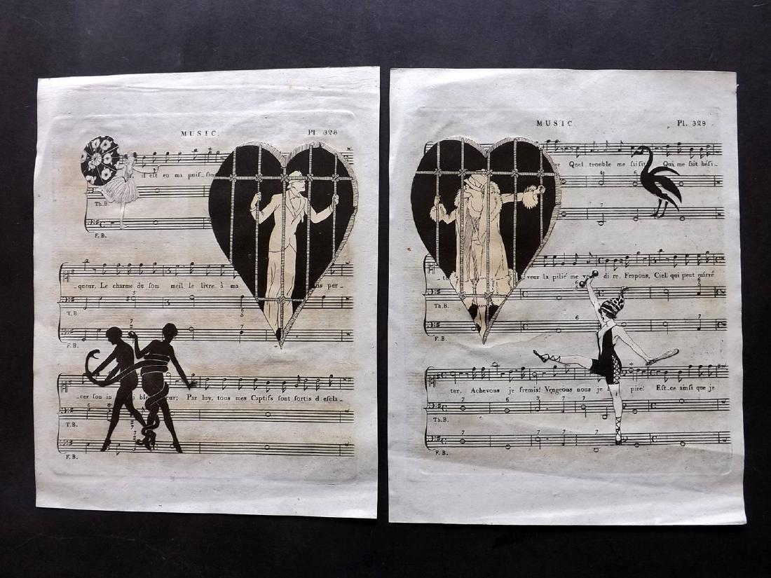 Decoupage C1800-1920 Pair. Art Deco on Sheet Music