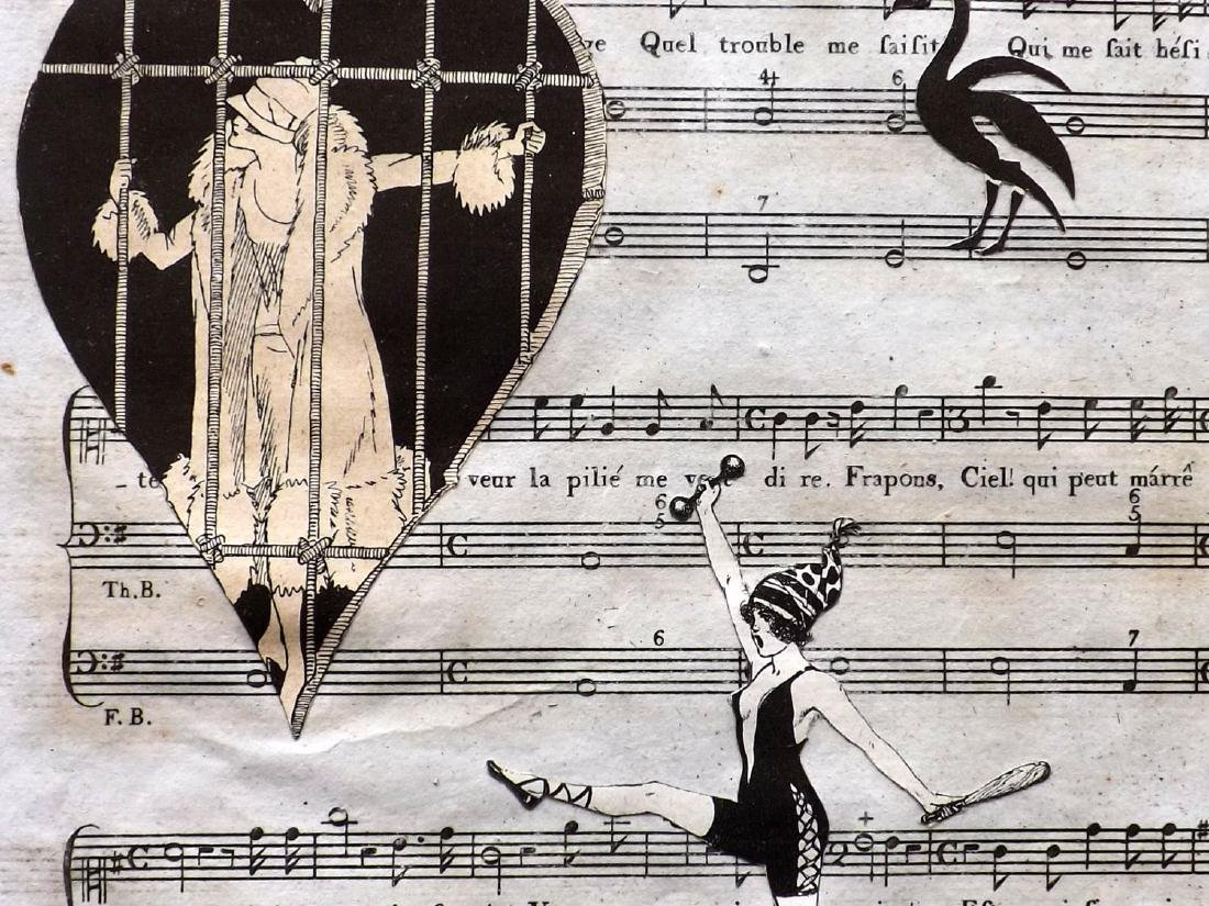 Decoupage C1800-1920 Pair. Art Deco on Sheet Music - 2