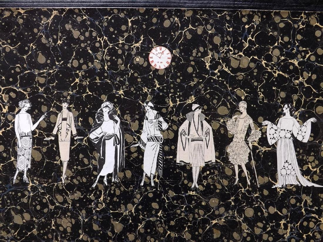 Decoupage C1850-1925 Set of 6. Art Deco Ladies & Clocks - 2