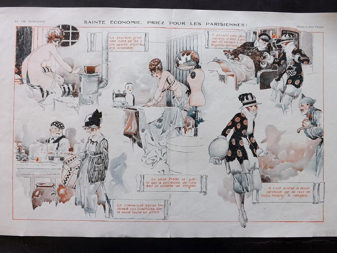 La Vie Parisienne C1920 Lot of 8 Large Art Deco Prints - 2