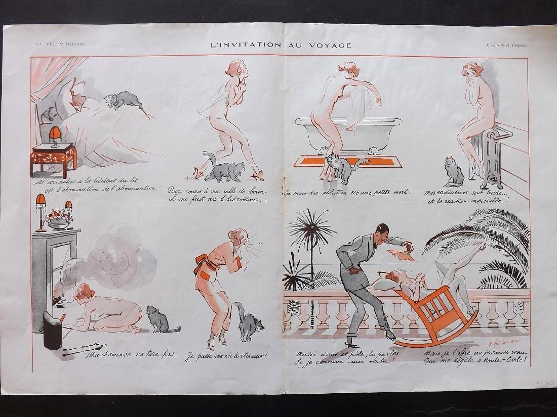 La Vie Parisienne C1920 Lot of 8 Large Art Deco Prints - 3