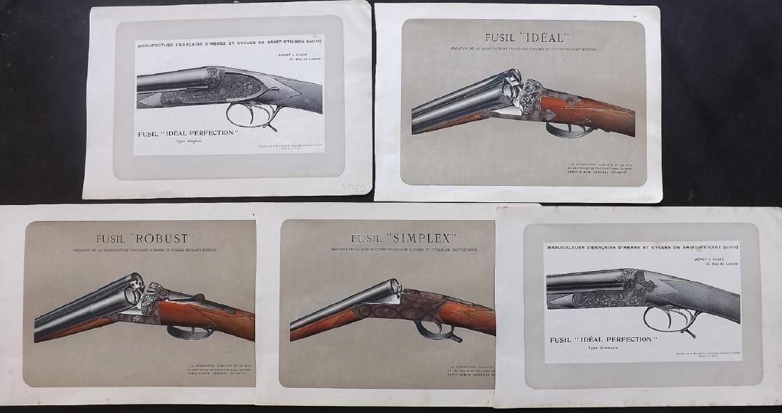 Mahler, P. 1907-31 Group of 5 Prints of Guns