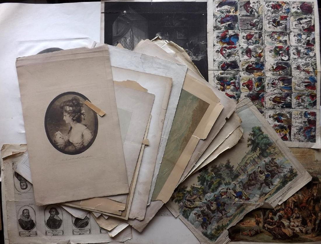 Mixed Prints 18th-19th Century. Lot of 30. Large Format