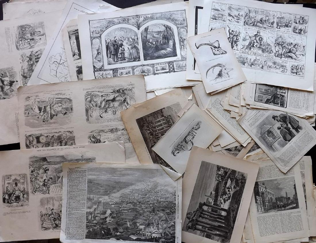 Mixed Wood Engravings 19th Century Lot of 175 Sheets