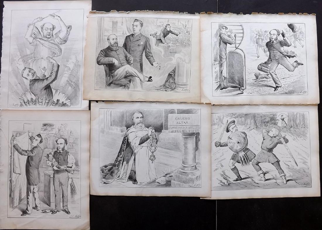Mountfort, E. C. 1880s - 6 Political Cartoons from Dart