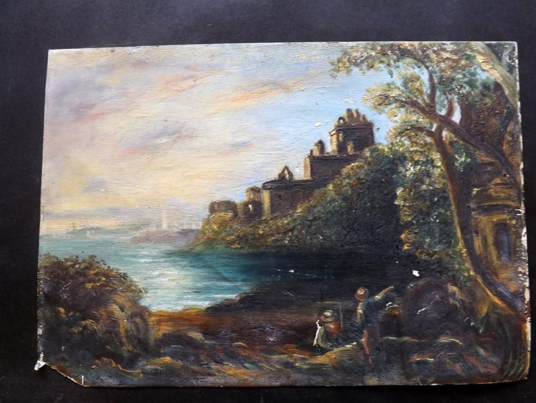 Original Art C1850 Victorian Oil. Italianate Landscape