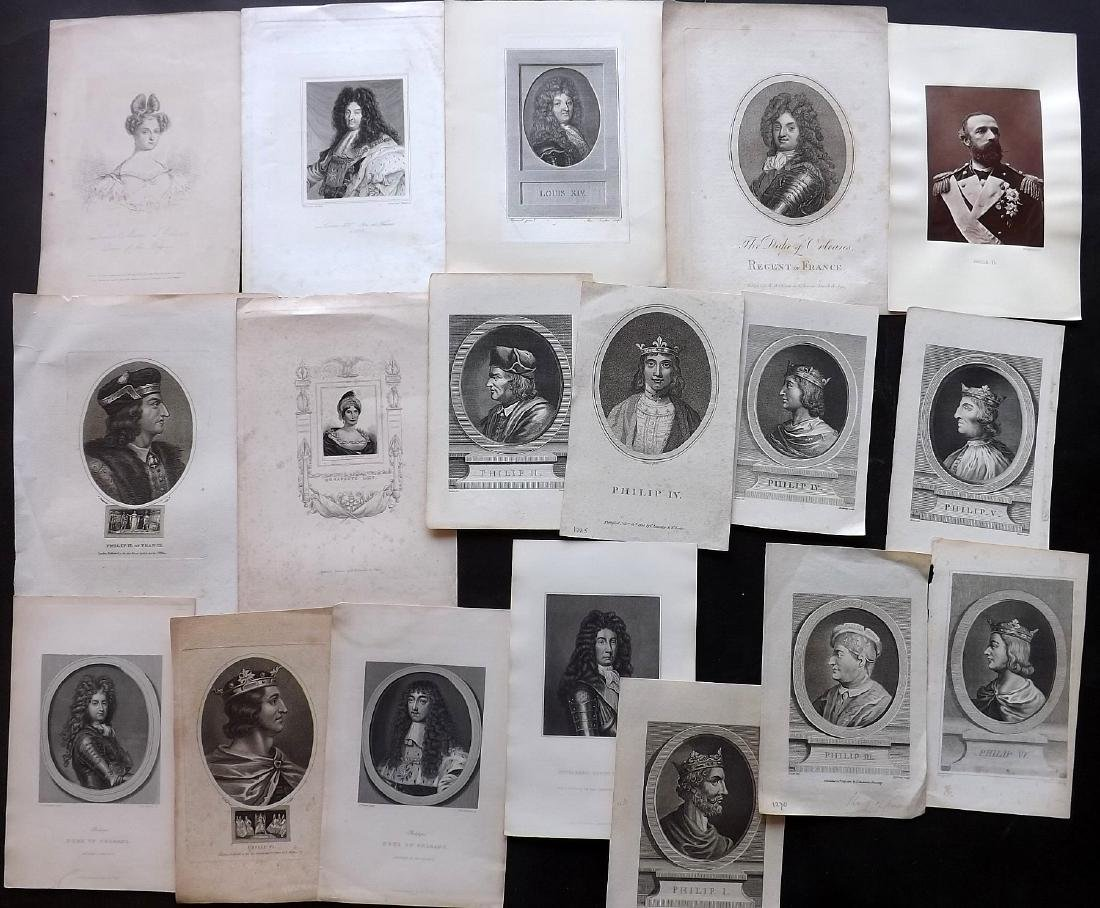 Portraits (European) 18th-19th Century Lot of 18