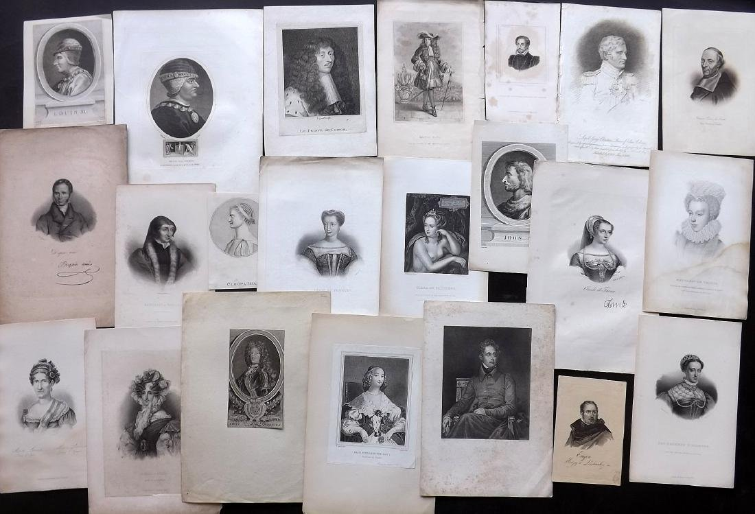 Portraits (French) 18th-19th Century Lot of 22