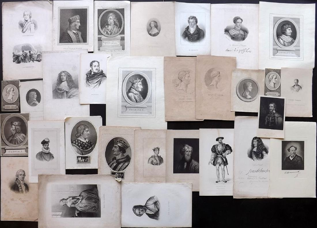 Portraits (French) 18th-19th Century Lot of 30