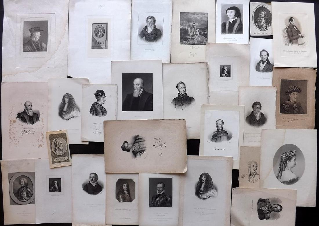 Portraits (French) 19th Century Lot of 28