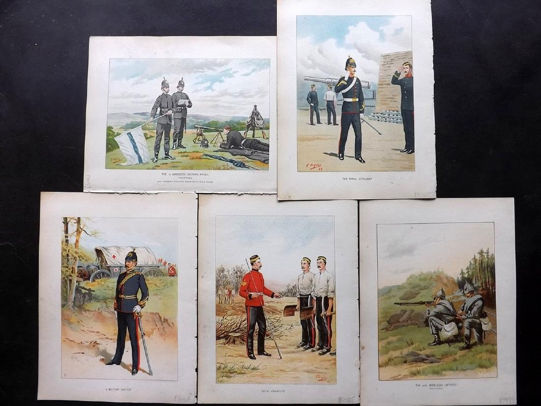 Richards, Walter 1890 Group of 5 Military Prints