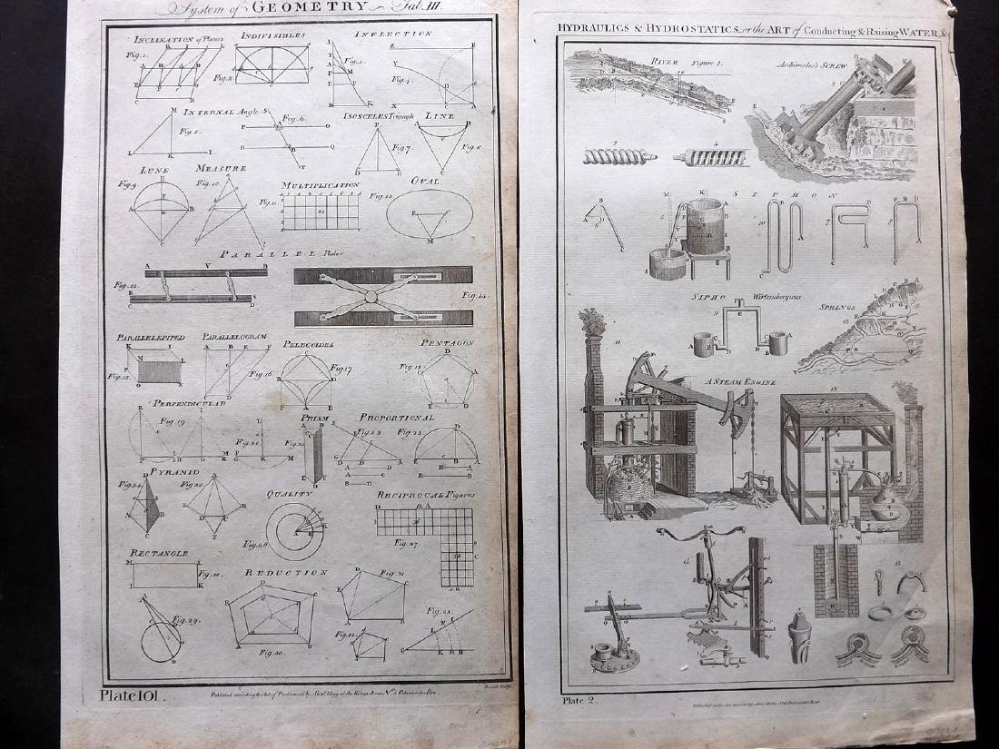 Royal Cyclopaedia C1790 Lot of 10 Folio Science Prints - 2
