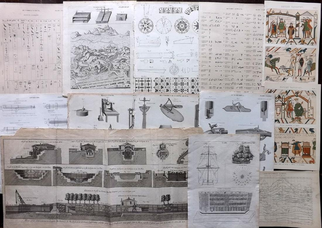 Science & Tech C1790-1875 Lot of 13 Prints