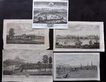 British Views C1760 Good Group of 5 Copper Plates