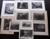 USA & Canada C1840-75 Lot of 10 Steel Engravings