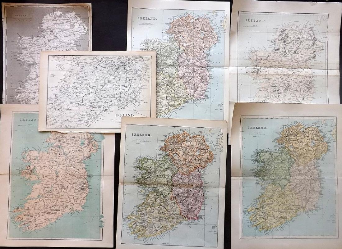 Ireland 1802-C1880 Lot of 7 Antique Maps