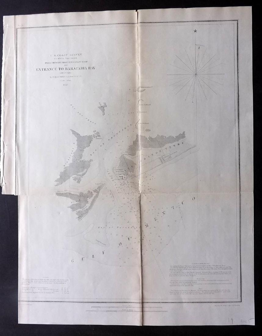U.S Coast Survey 1853 Map. Barataria Bay, Louisiana