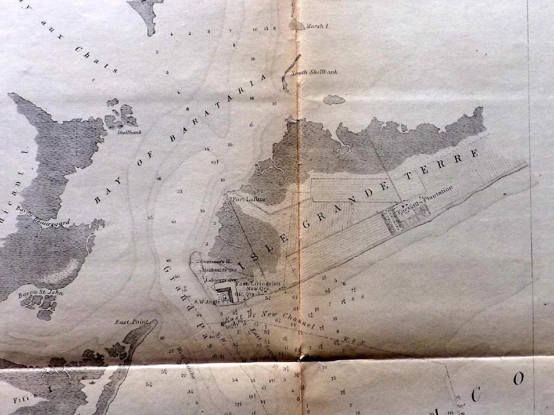 U.S Coast Survey 1853 Map. Barataria Bay, Louisiana - 2
