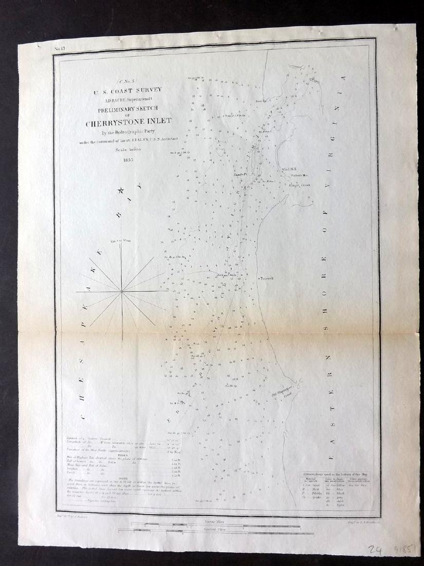 U.S Coast Survey 1853 Map. Cherrystone Inlet, Virginia
