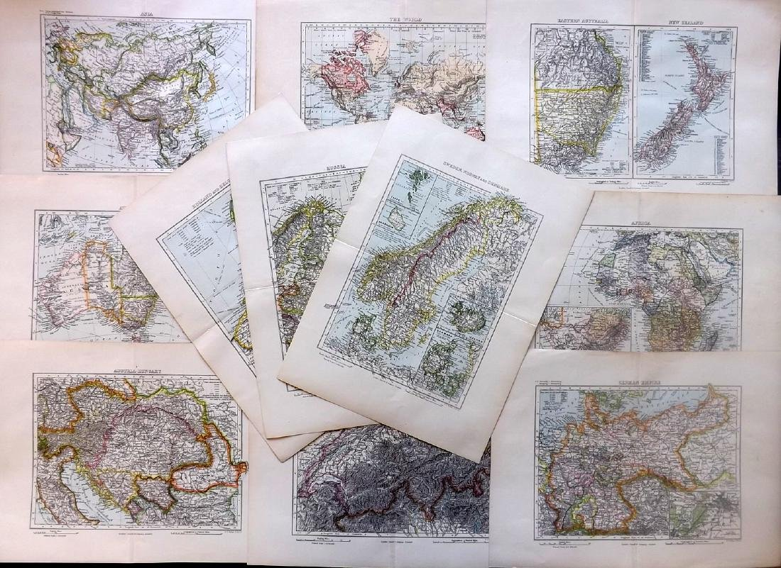 Weller, F. S. C1890 Lot of 12 Antique Maps