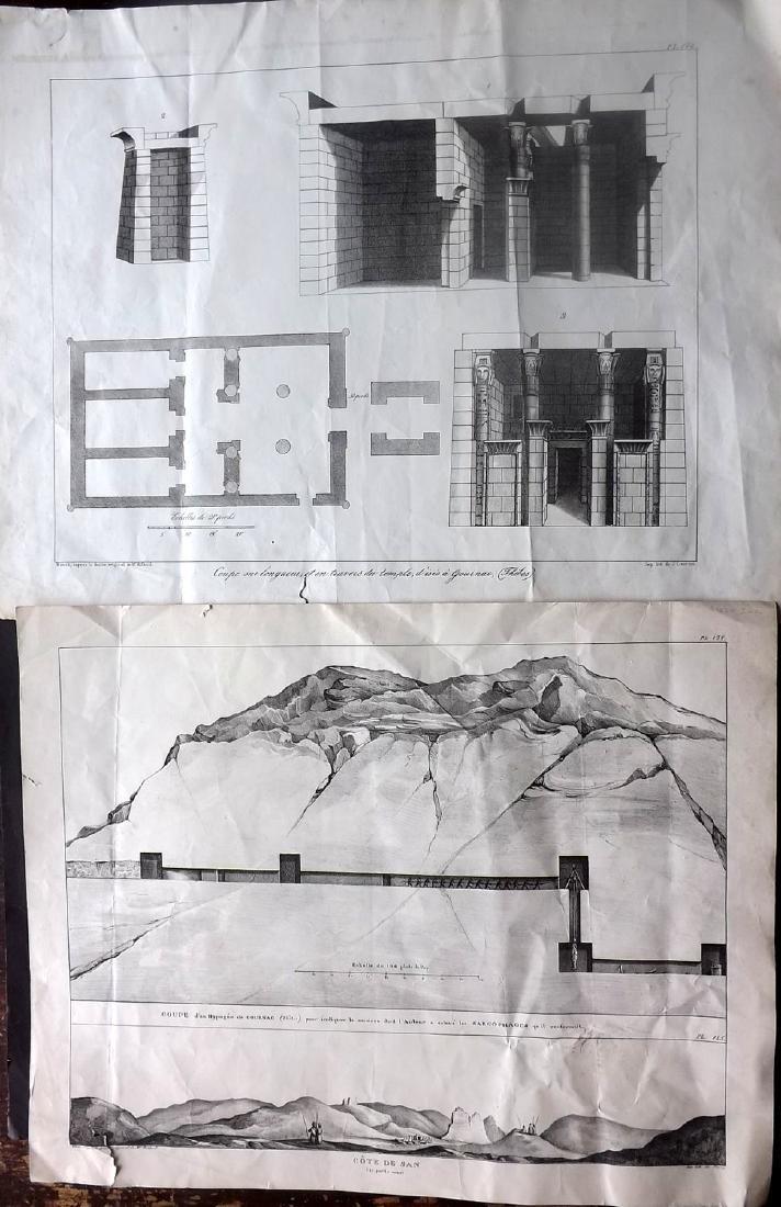Rifaud, J. J. 1830 Pair of Large Prints of Egypt