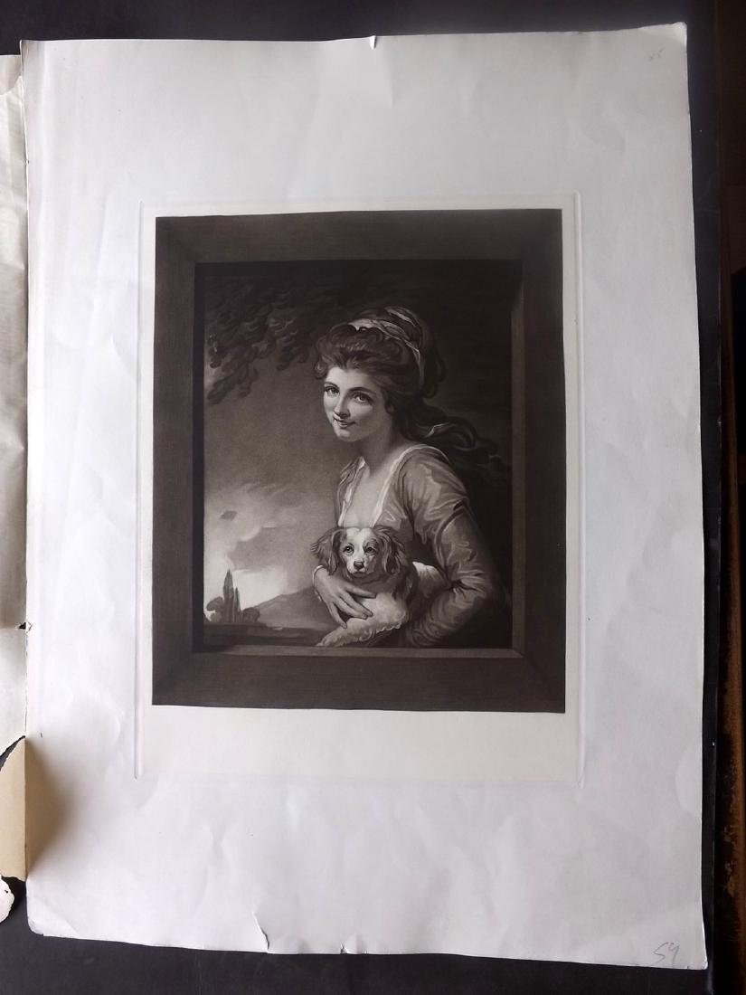 After George Romney C1900 Mezzotint. Nature Pretty Lady