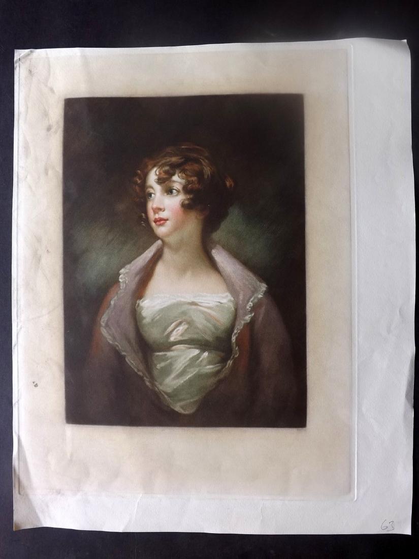 Anon C1890 Large Colour Mezzotint of a Lady