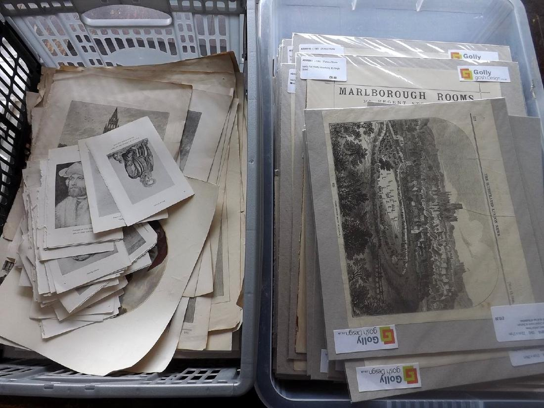 Mixed Mounted Prints 19th-20th Century Lot of 200+
