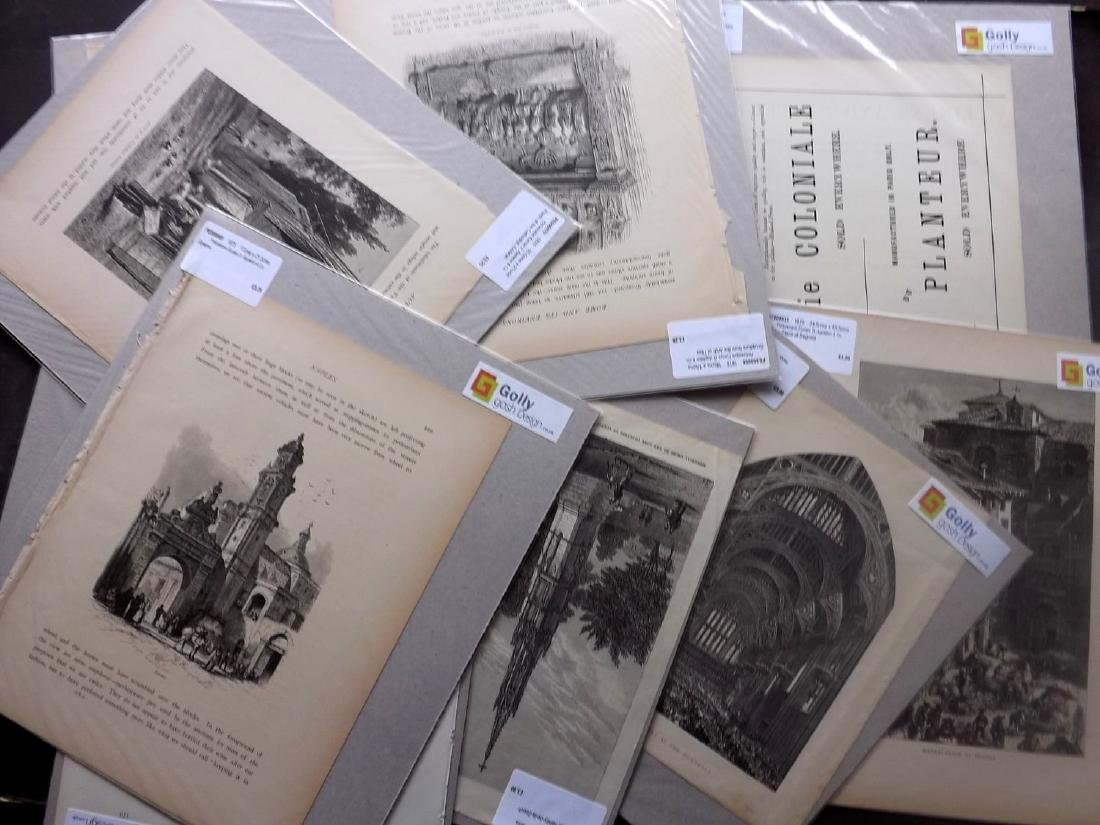 Mixed Mounted Prints 19th-20th Century Lot of 200+ - 3