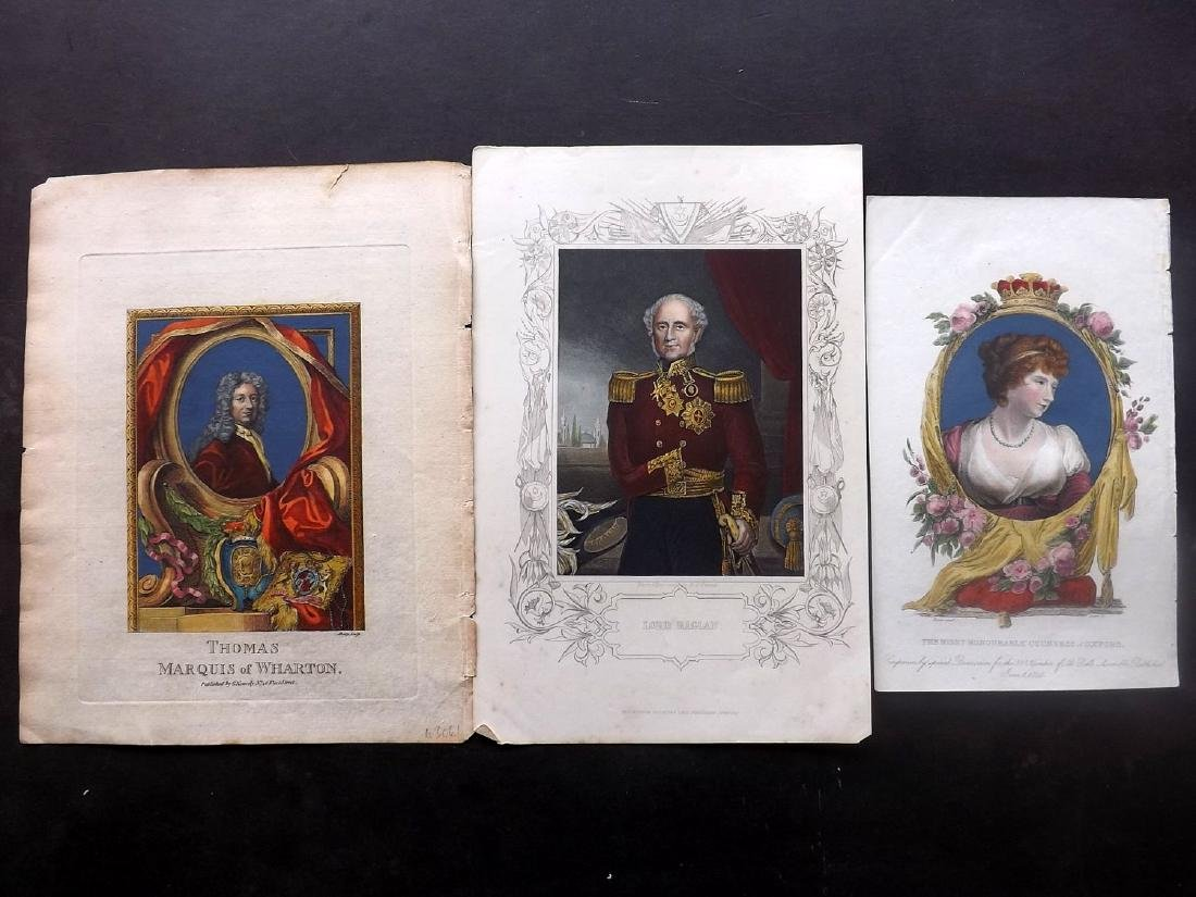 Portraits 1778-C1850 Group of 3 Hand Coloured