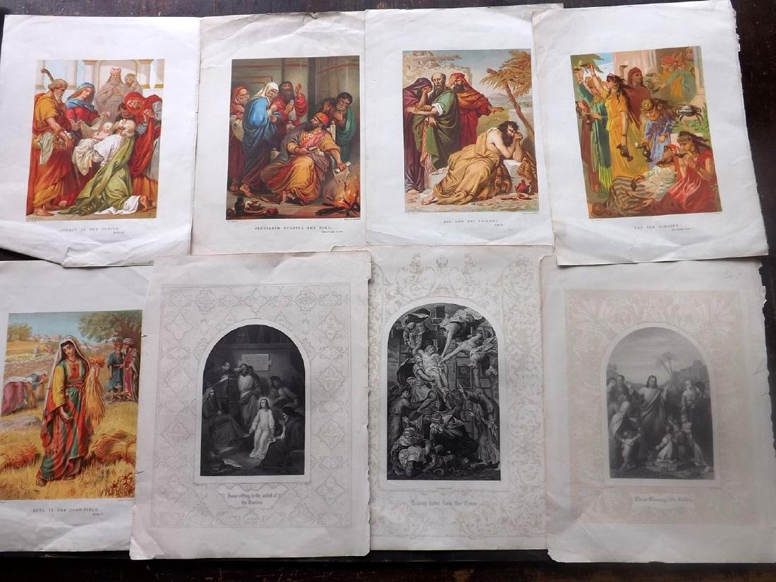Religious 19th Century Lot of 9 Engravings & Chromos