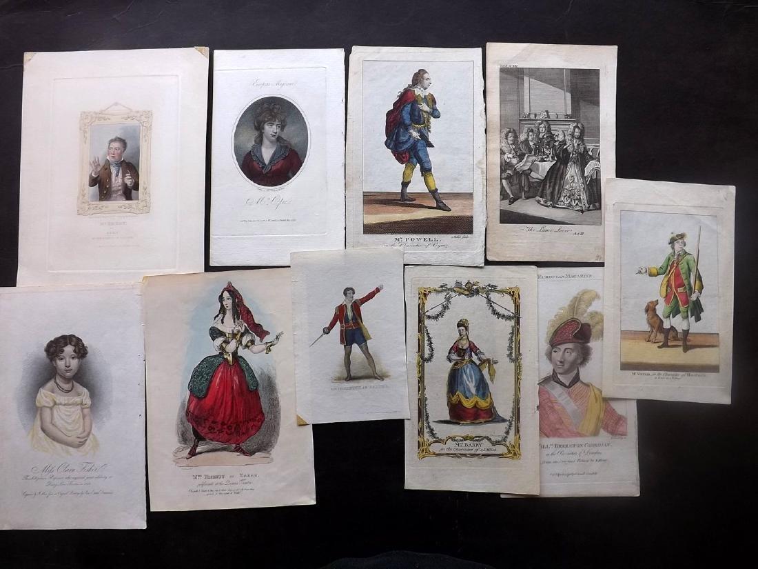 Theatre 18th-19th Century. Lot of 10 Hand Col Portraits