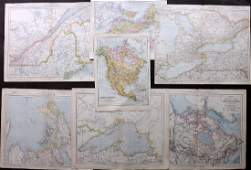 Canada C1880s Lot of 7 Antique Maps by Letts Bacon