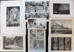 Travel & Architecture 19th Cent. Mixed Lot of 8 Prints