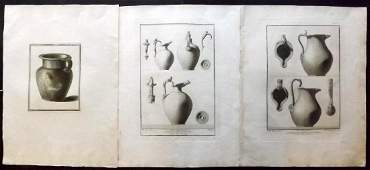 Herculaneum C1760 Group of 3 Large Copper Plates