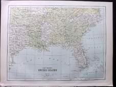 Bryce James 1881 Map of South USA Texas Florida etc