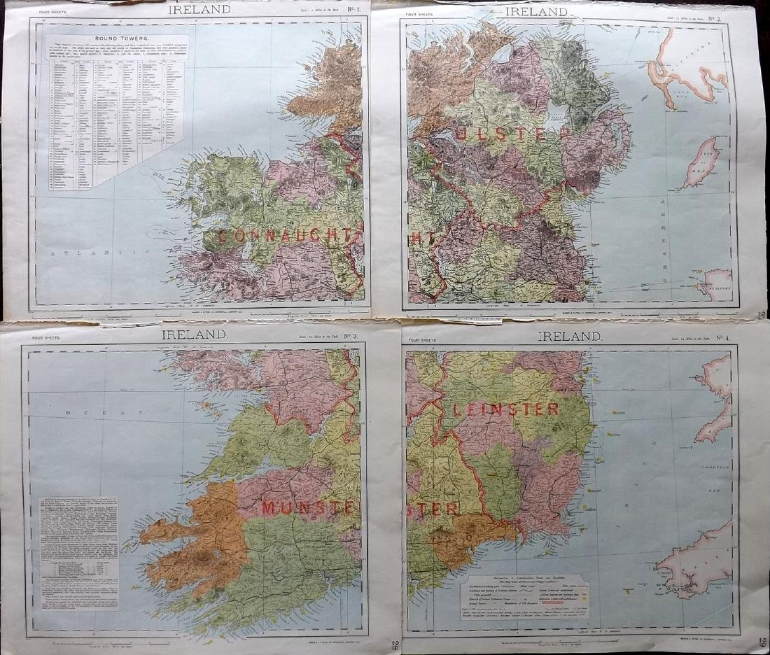 Ireland C1880's Set of 4 Maps by Letts