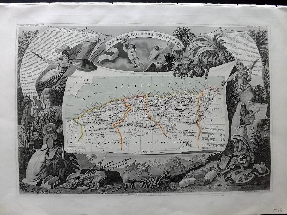 Levasseur, Victor 1859 Decorative Map of Algeria