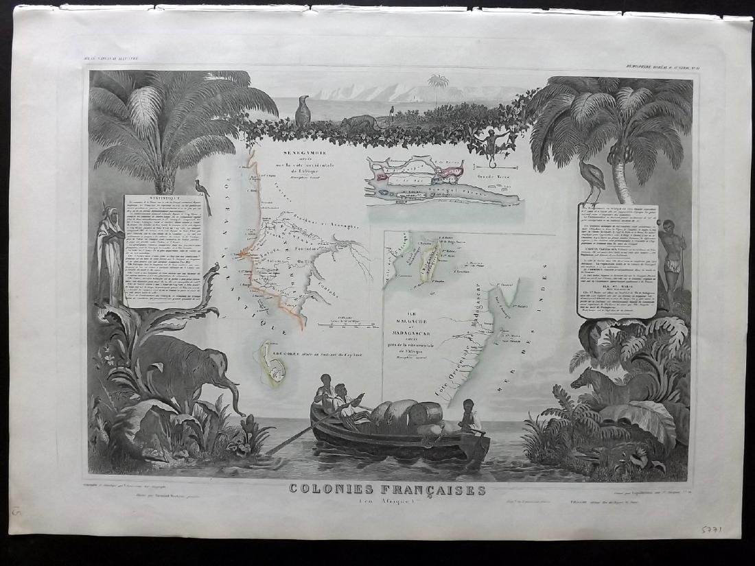 Levasseur, Victor 1859 Map of Senegal, Madagascar