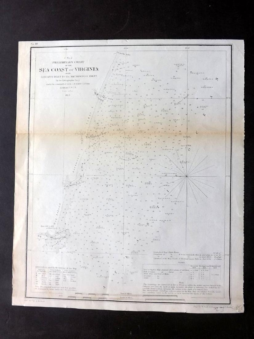 U.S Coast Survey 1853 Map. Gargathy Machipongo Inlet VA